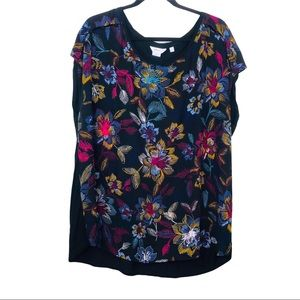 Reitmans Cap sleeve black Floral blouse tonic 3X